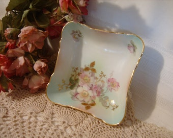 Schumann Arzberg Germany Wild Rose Early 1900's Square Nut Bowl Dish