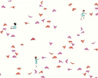 Wee Wander: Sarah Jane - With the Birds Pink - 1 Yard Cut
