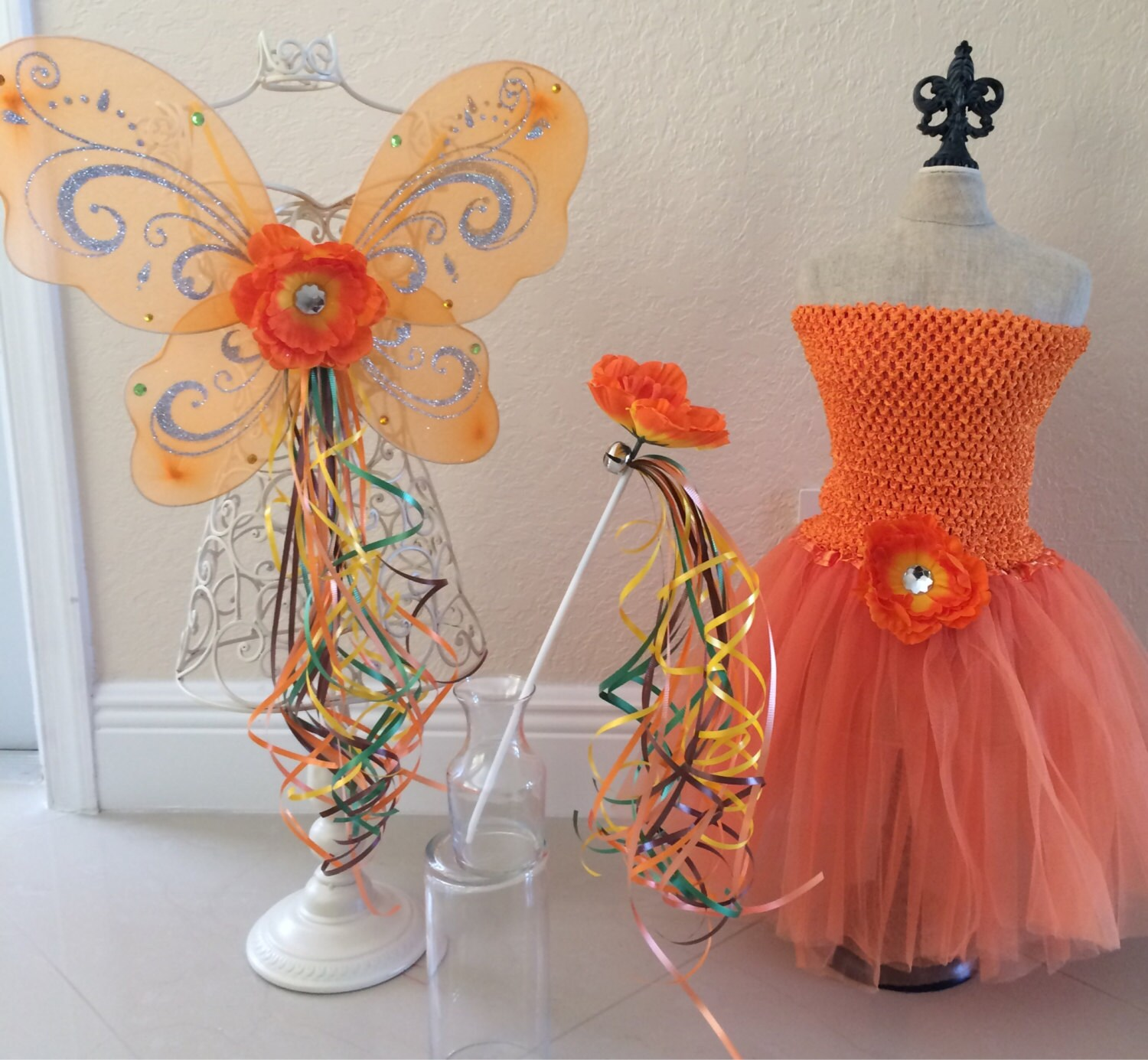Orange Tutu Fawn Tinkerbell Orange Fairy Wings by ...