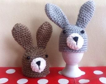 Pair of Handmade Rabbit Egg Cozies made with Recycled Cotton Yarn