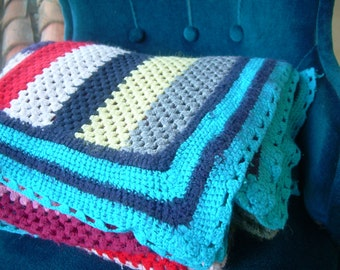 Old crochet blanket, blanket for sofa,RETRO