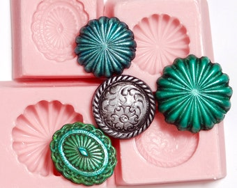 Western Button Silicone Mold Mould Set 4 flexible easy use molds for food fondant chocolate butter crafts resin polymer clay jewelry  (260)