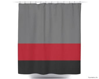 Bold Red // Stripe Color Block // Shower Curtain