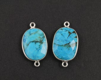 Natural TURQUOISE, Bezel  Turquoise Component, Sterling Silver,  15X20mm, 1 Piece, (BZCT8103)