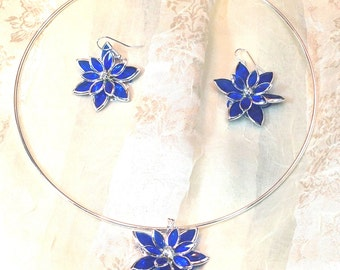 Stained Glass Necklace & Earrings in Cobalt Blue With Crystals Handmade Choker Set by NorthCoastCottage Jewelry Design