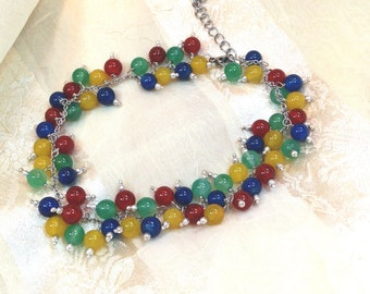 Multicolor Agate Rainbow Anklet Handmade Jewelry