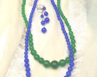 Quartzite Necklace Earrings Sets in Blue or Green Handmade Jewelry by NorthCoastCottage