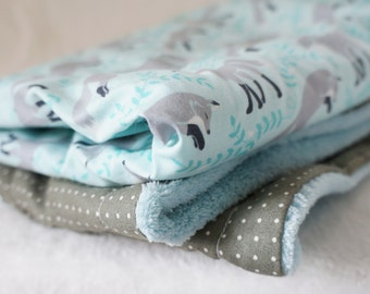 Baby Blanket in Grey and Mint 'Frolicking Foxes' print