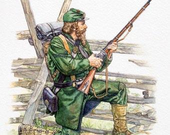Civil War Art - American Civil War Sharpshooter.