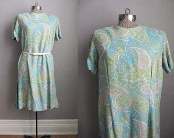 1960s Vintage Dress Turquoise Green Yellow Paisley Print 60s Day Dress / Large