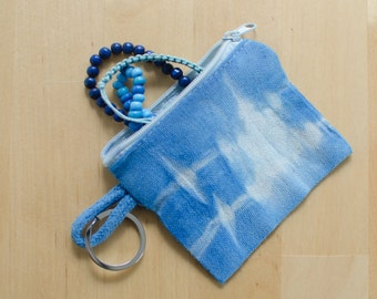Small zipper pouch, tie dye, lightblue, for keys, coin and other small things