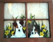 Puppy Painting, Recycled Window, Custom Pet Portrait Pet Window, Dog Art, Pet Memorial, Dog Loss, Wall Hanging, Painted Dogs