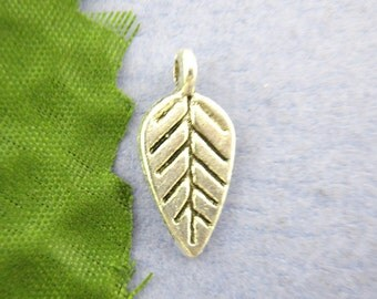 10 Pieces Silver Leaf Charms