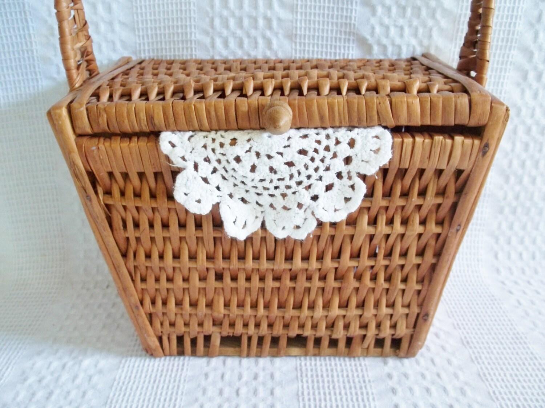 Wicker Basket With Hinged Lid : Wicker basket sewing hinged lid wood knob