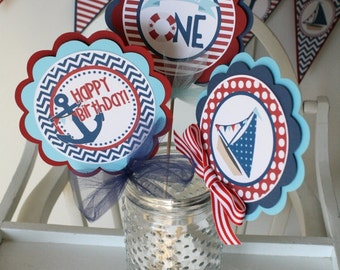 Nautical Birthday Centerpiece Sticks, Nautical Birthday Table Decorations
