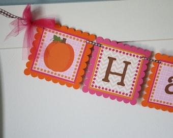 Pumpkin Birthday Banner - Girl, Pink & Orange - Little Pumpkin First Birthday