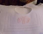 Christening Infant Boy or Girl Dressy White Momogrammed Linen Bib