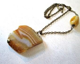 Yellow druzy agate pendant