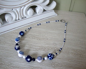 "Polymer clay beaded necklace, ""Marinera"" Collection"