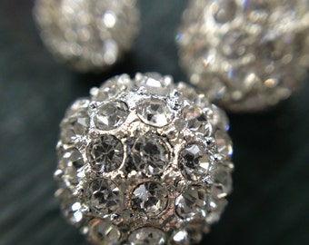 SALE! Two 6mm Rhinestone Silver Ball Beads for necklace, bracelet or all jewelry making, Set of 2, 6mm