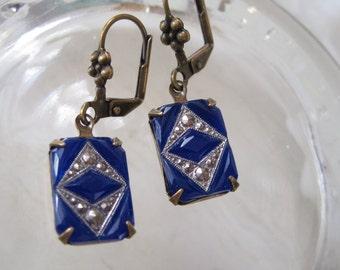 Lapis Blue Marcasite Design Vintage Rectangle Cabochon Earrings
