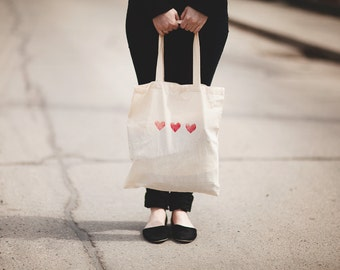 red heart cotton tote bag