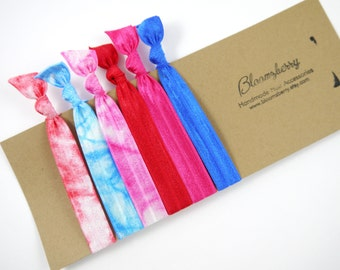 6 pcs Elastic Hair Tie - Tie Dyed - Red, Pink, Blue Set - Girl Hair Ties - Tie Dyed Hair Ties - Summer/Fall - Baby to Adult