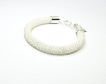 Wedding Bracelet. White Beaded Bracelet. Seed Bead Bracelets. Bead Crochet. Handmade Bracelet. Beautiful Bracelet.