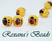 Yellow Glass Ladybug Beads- Set of 10