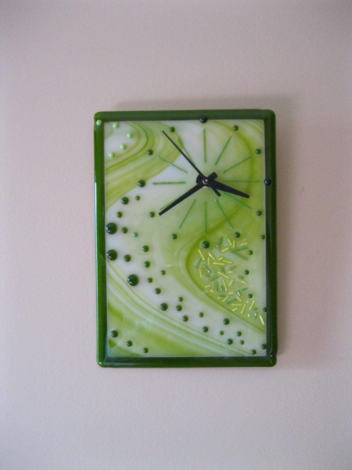 9 75 X 7 5 Fused Glass Clock Quartz Movement