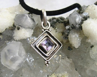 Vintage Amethyst Pendant Solid 925 Sterling Silver with Black Neck Cord
