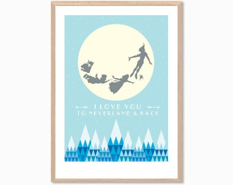PETER PAN | I Love You From Here To Neverland Poster : Walt Disney Modern Illustration Retro Art Wall Decor Print