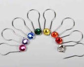 Crystaletts Pins - Jeweled Stitch Markers - 16 pc Set Silver Finish