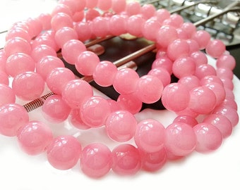 20 Opaque Pink Beads - 10mm Round Glass Beads - Jelly Beads B1178