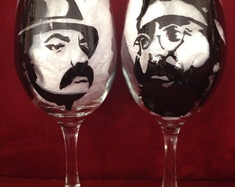 Cheech and Chong hand painted wine glass