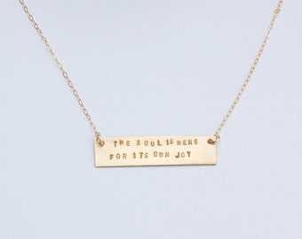 Rumi quote gold bar necklace