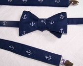 Suspenders - Men's Wedding SUSPENDERS and BOW TIE   set - adjustable - Navy with white Anchors - Out to Sea by Sara Jane - Nautical - Cotton