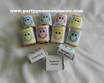 30 Unique Personalized Owl Baby Shower, Birthday Hershey's nugget labels, candy wrappers