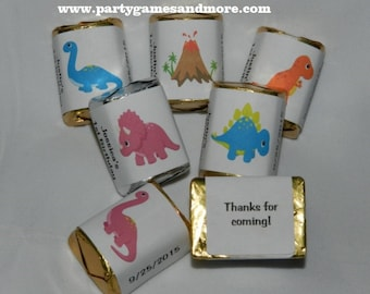 30 Unique Personalized Dinosaur Dino Birthday, Baby Shower Hershey's nugget labels, candy wrappers