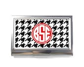 Personalised Business Card Case - Card Case Protector - Houndstooth P11