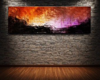 """60"""" x 20"""" Abstract canvas wall art giclee print  Large fully stretched and ready to hang"""
