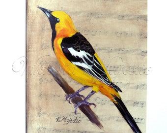 Yellow Hooded Oriole Song Bird PRINT on Sheet Music, Fine Art, after  Original Oil Paintigng Bird Art on Etsy