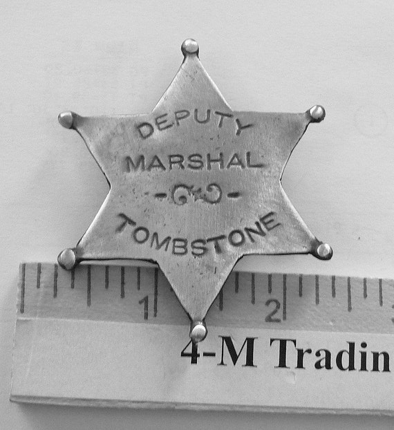 Deputy Marshall Tombstone 6 Point Star Badge with pin back