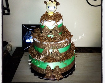 Giraffe Diaper Cake - Giraffe Three Tier Diaper Cake Baby Shower Gift/Decoration