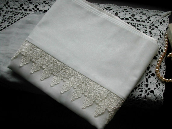 mulberry silk pillowcase, king size, white with cream guipure lace leaf trim, cotton back. (pair)