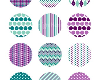 """Instant Download 2"""" Printable Circles 050 - Purple and Teal Patterned Circles"""