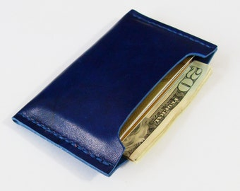 Card Case - Leather Card Holder in Royal Blue - Simple Wallet for Men - Handmade and Hand Stitched - Free Monogram