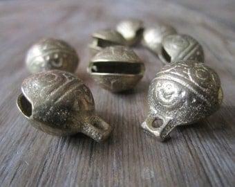 Medium Tibetan tiger bells - TWO brass Tibetan tiger bells for malas, jewellery designs, amulets, lucky Tibetan bells, tiger bells - 2 pcs.