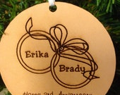 3rd Anniversary Wedding Gift 3rd Anniversary Ornament Personalized Wedding Ornament Leather Anniversary Gift 3rd Anniversary Gift