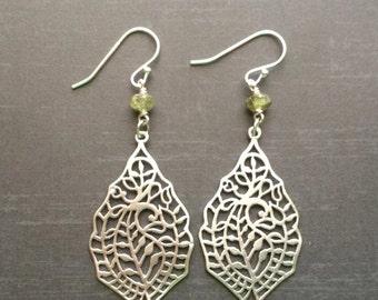 Boho Filigree Earrings with Green Tourmaline Bead